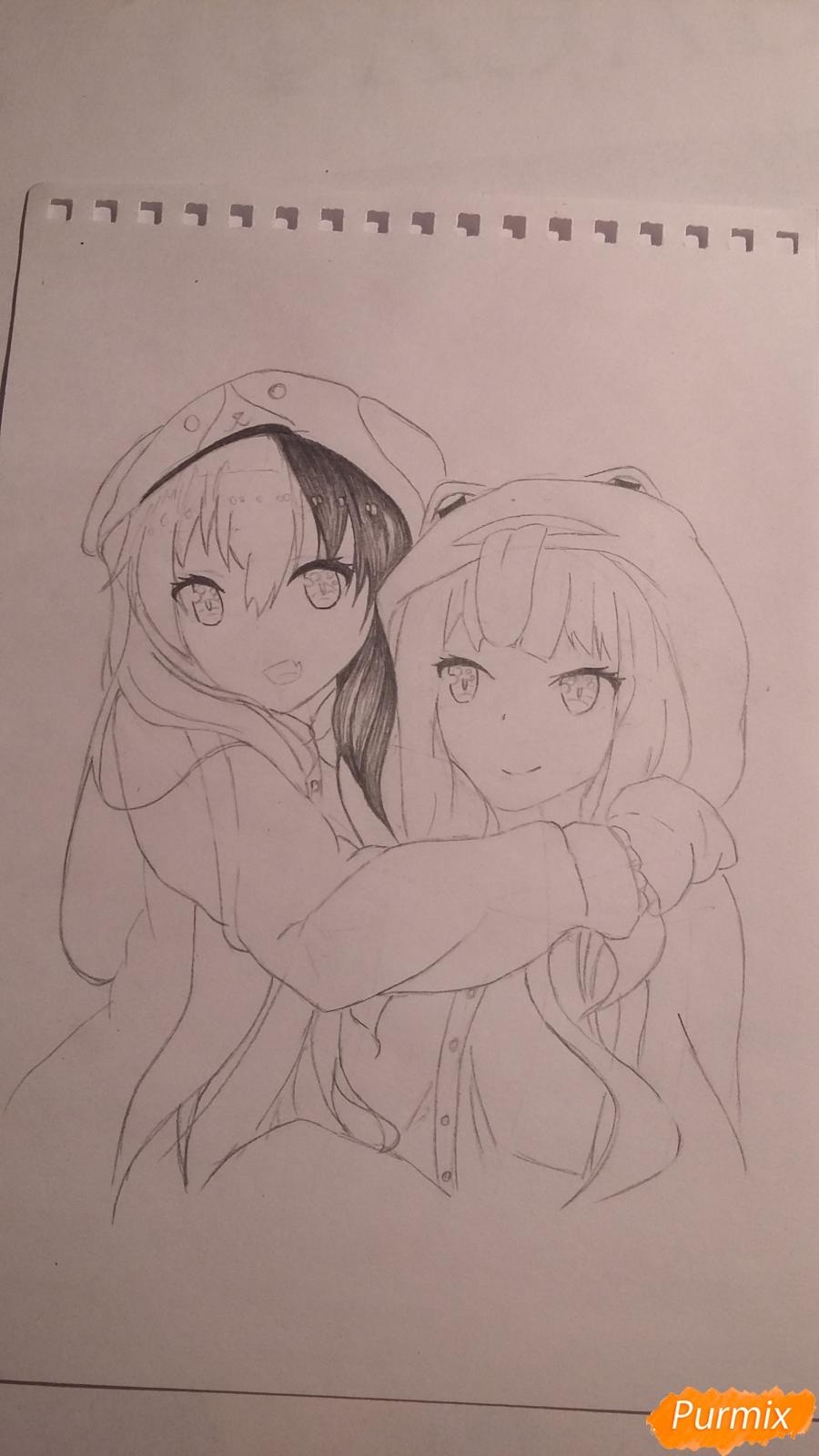 Рисуем двух девушек в аниме стиле - шаг 5