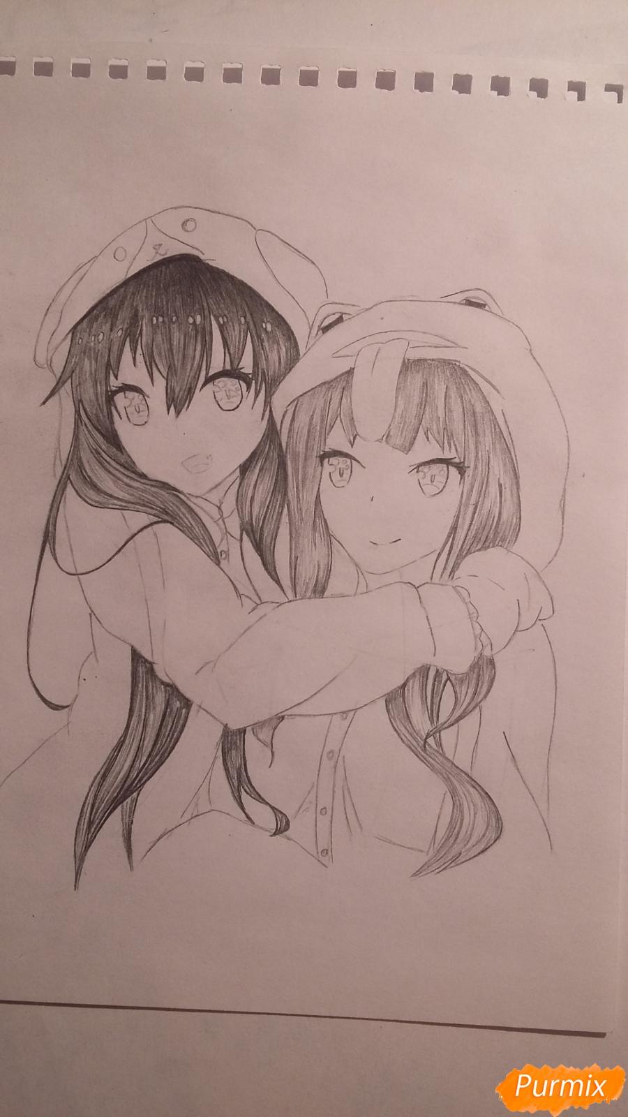 Рисуем двух девушек в аниме стиле - шаг 6