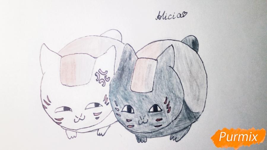 Рисуем двух маленьких аниме котят - шаг 6