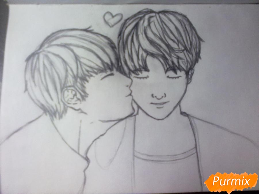 Рисуем двух милых парней в стиле аниме карандашами - шаг 3