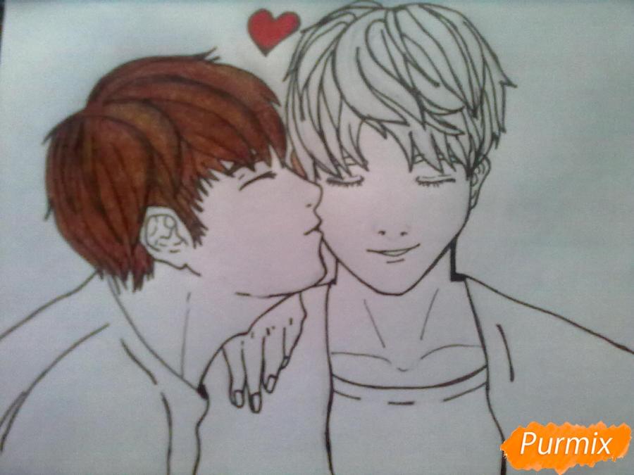 Рисуем двух милых парней в стиле аниме карандашами - шаг 5