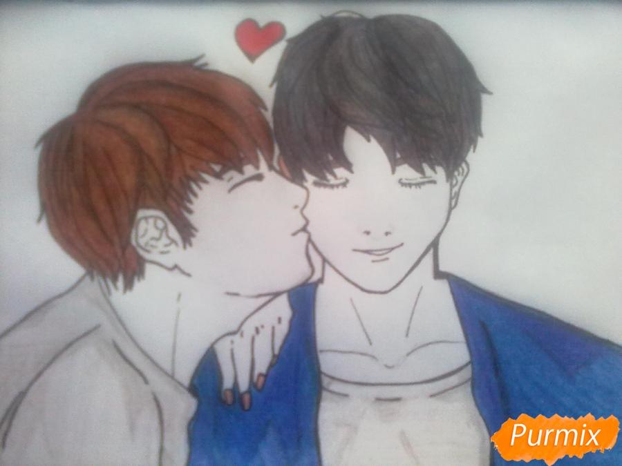 Рисуем двух милых парней в стиле аниме карандашами - шаг 7