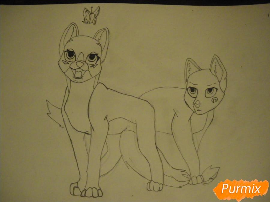 Рисуем двух серых кошечек в стиле аниме - шаг 10