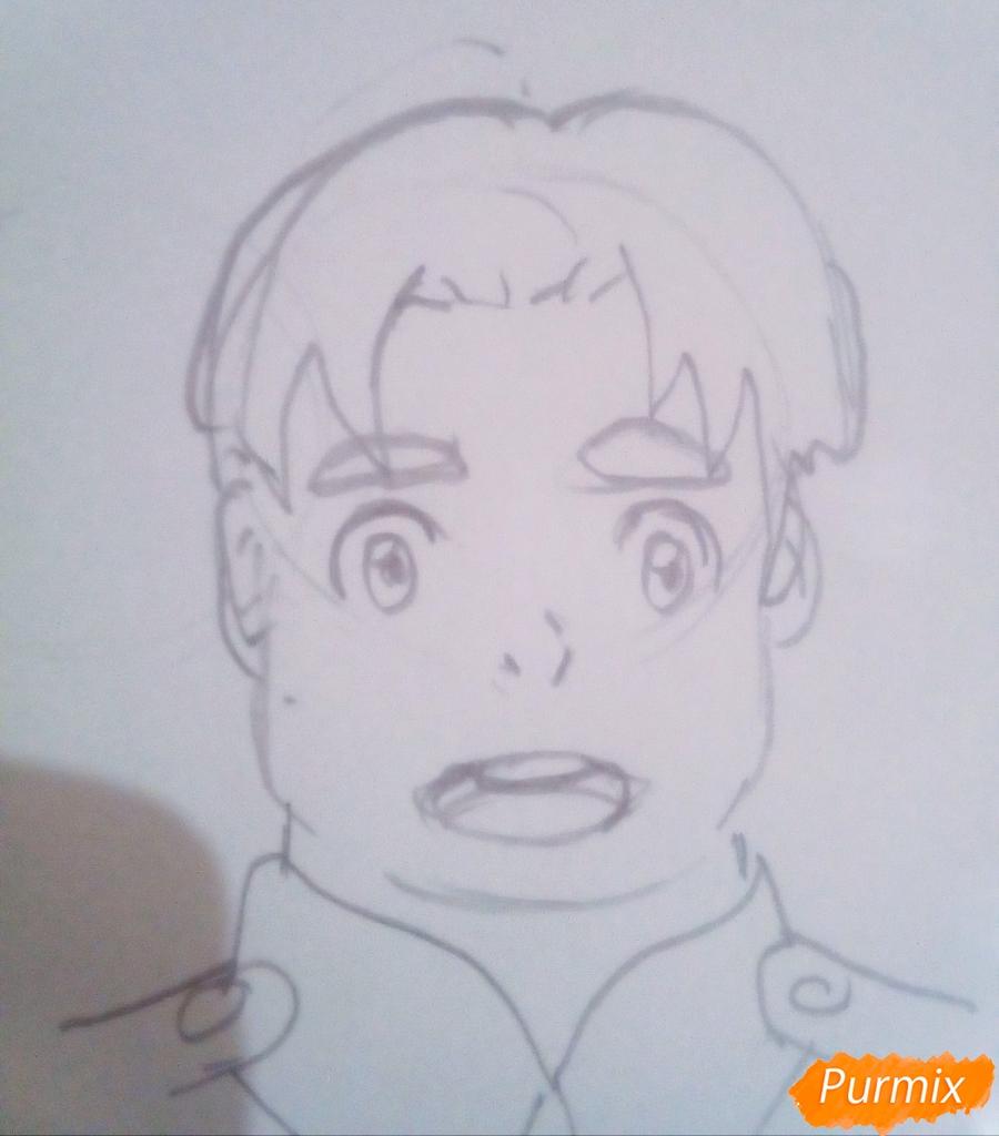 Рисуем Футоши из аниме Милый Во Франксе карандашами - шаг 3