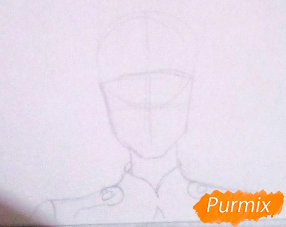 Рисуем Горо из аниме Милый Во Франксе карандашами - шаг 1