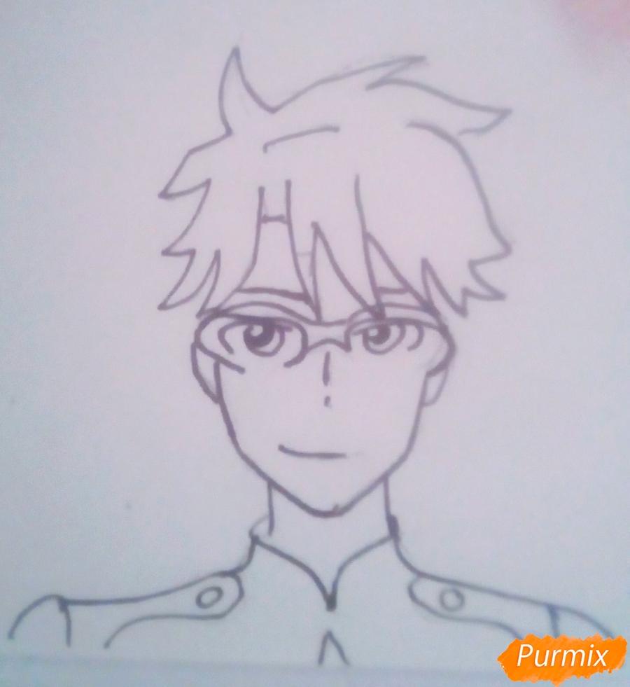 Рисуем Горо из аниме Милый Во Франксе карандашами - шаг 4