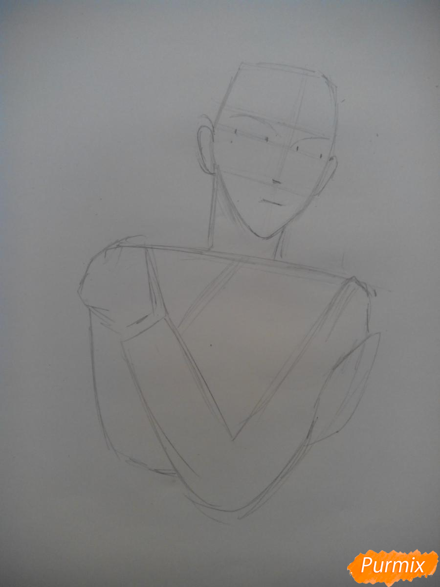 Рисуем Графа Ди из аниме Магазинчик Ужасов карандашами - шаг 1
