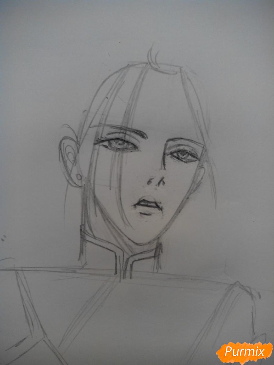 Рисуем Графа Ди из аниме Магазинчик Ужасов карандашами - шаг 2