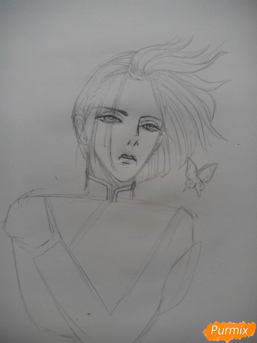 Рисуем Графа Ди из аниме Магазинчик Ужасов карандашами - шаг 3