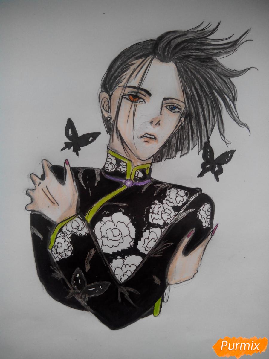 Рисуем Графа Ди из аниме Магазинчик Ужасов карандашами - шаг 7