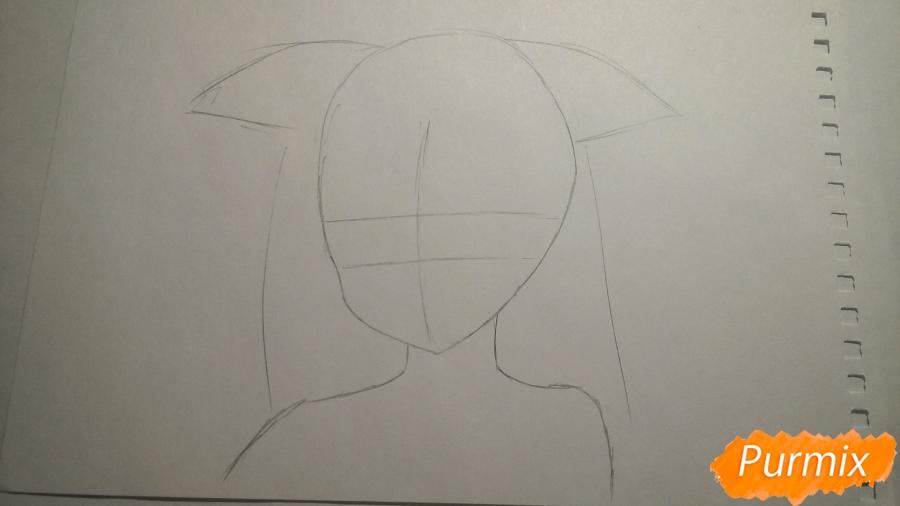 Рисуем грустную аниме девушку с ушками - шаг 1