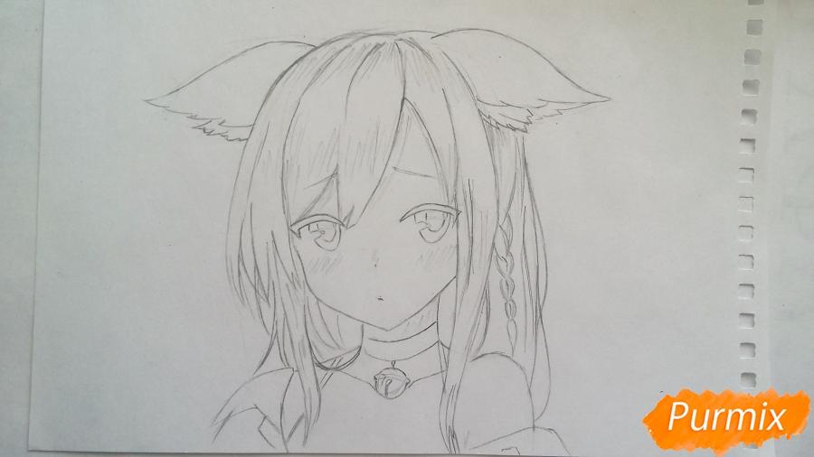 Рисуем грустную аниме девушку с ушками - шаг 4