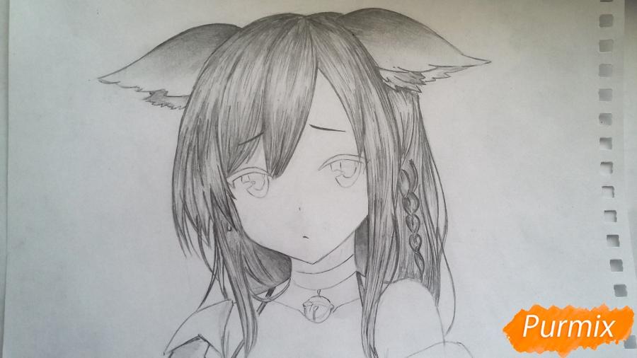 Рисуем грустную аниме девушку с ушками - шаг 6