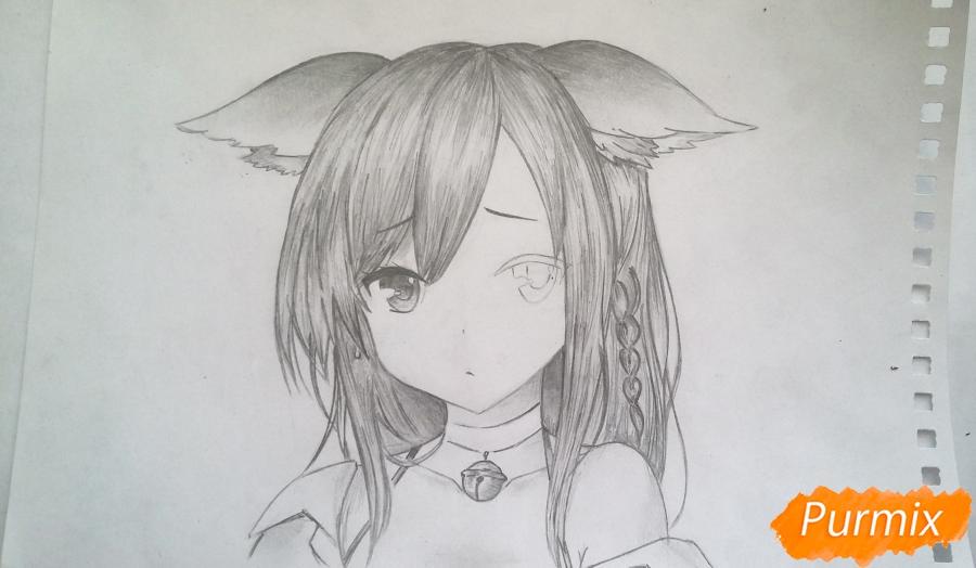 Рисуем грустную аниме девушку с ушками - шаг 7