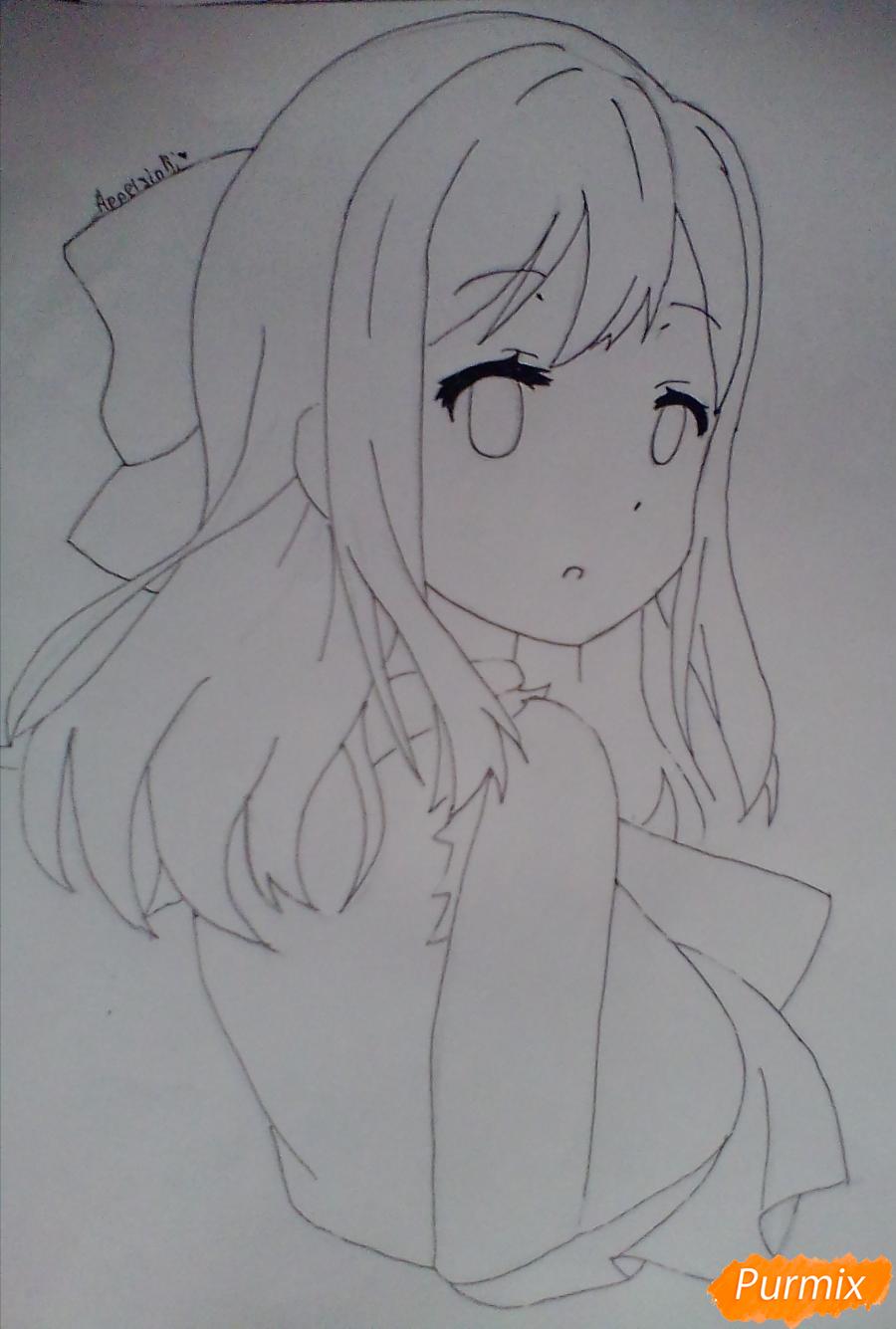 Рисуем Ханамару Куникиды из аниме Живая Любовь - шаг 5