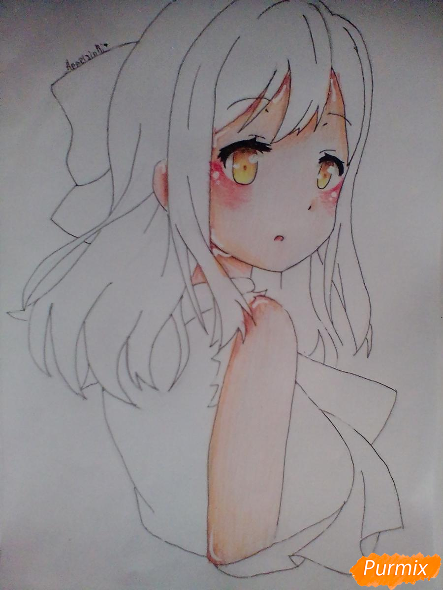 Рисуем Ханамару Куникиды из аниме Живая Любовь - шаг 7