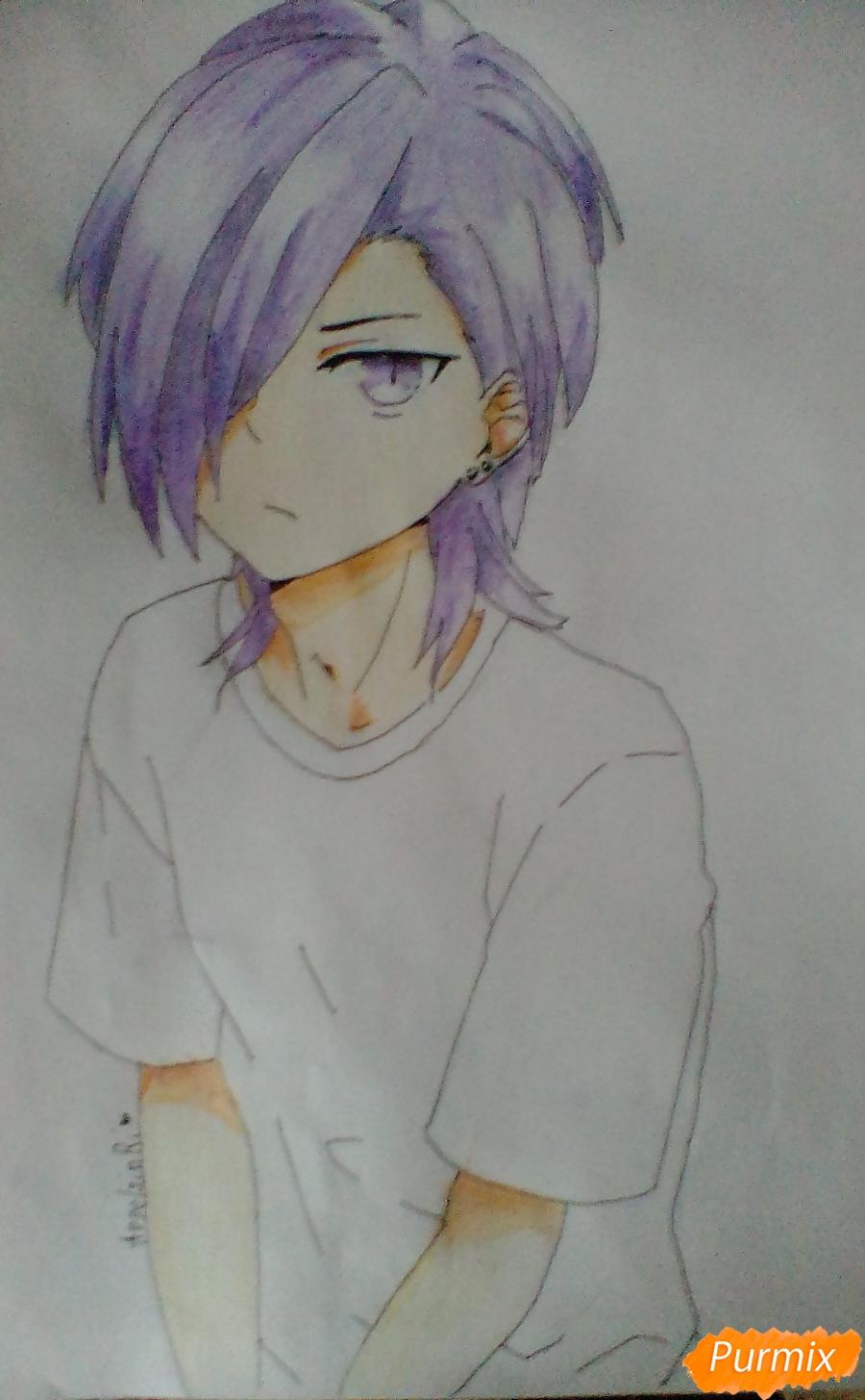 Рисуем Хандзо Урусихару из аниме Сатана на подработке - шаг 8