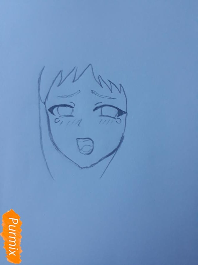 Рисуем Ханну со слезами из аниме Невиданный цветок - шаг 2
