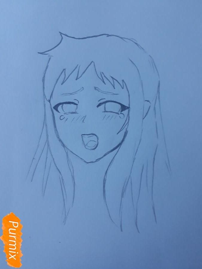 Рисуем Ханну со слезами из аниме Невиданный цветок - шаг 3
