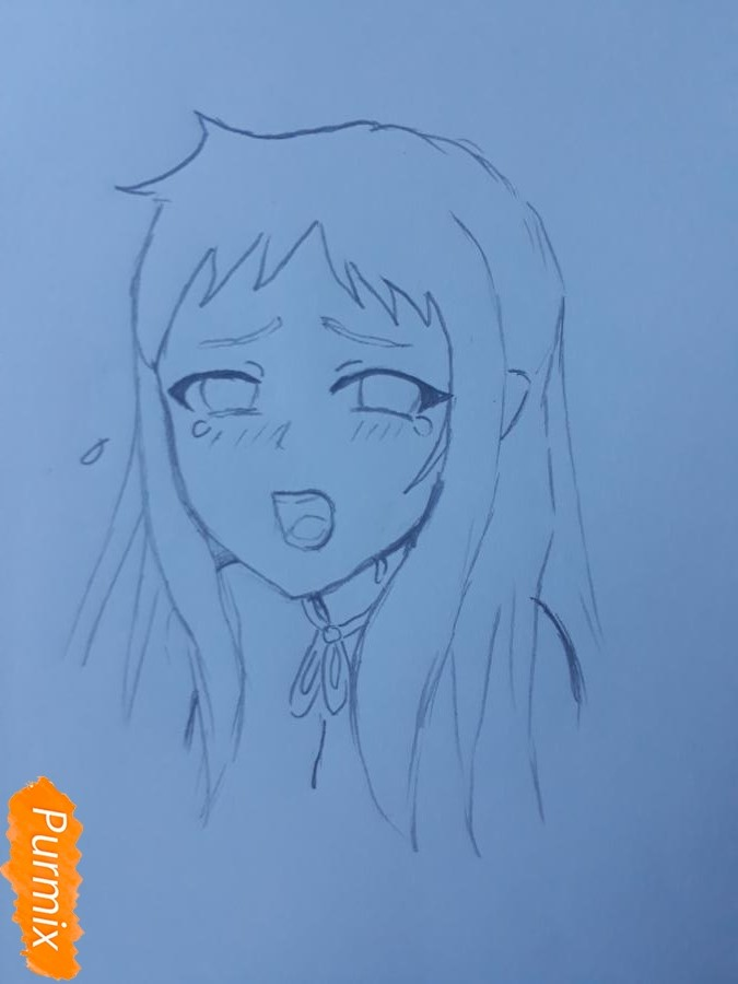 Рисуем Ханну со слезами из аниме Невиданный цветок - шаг 4