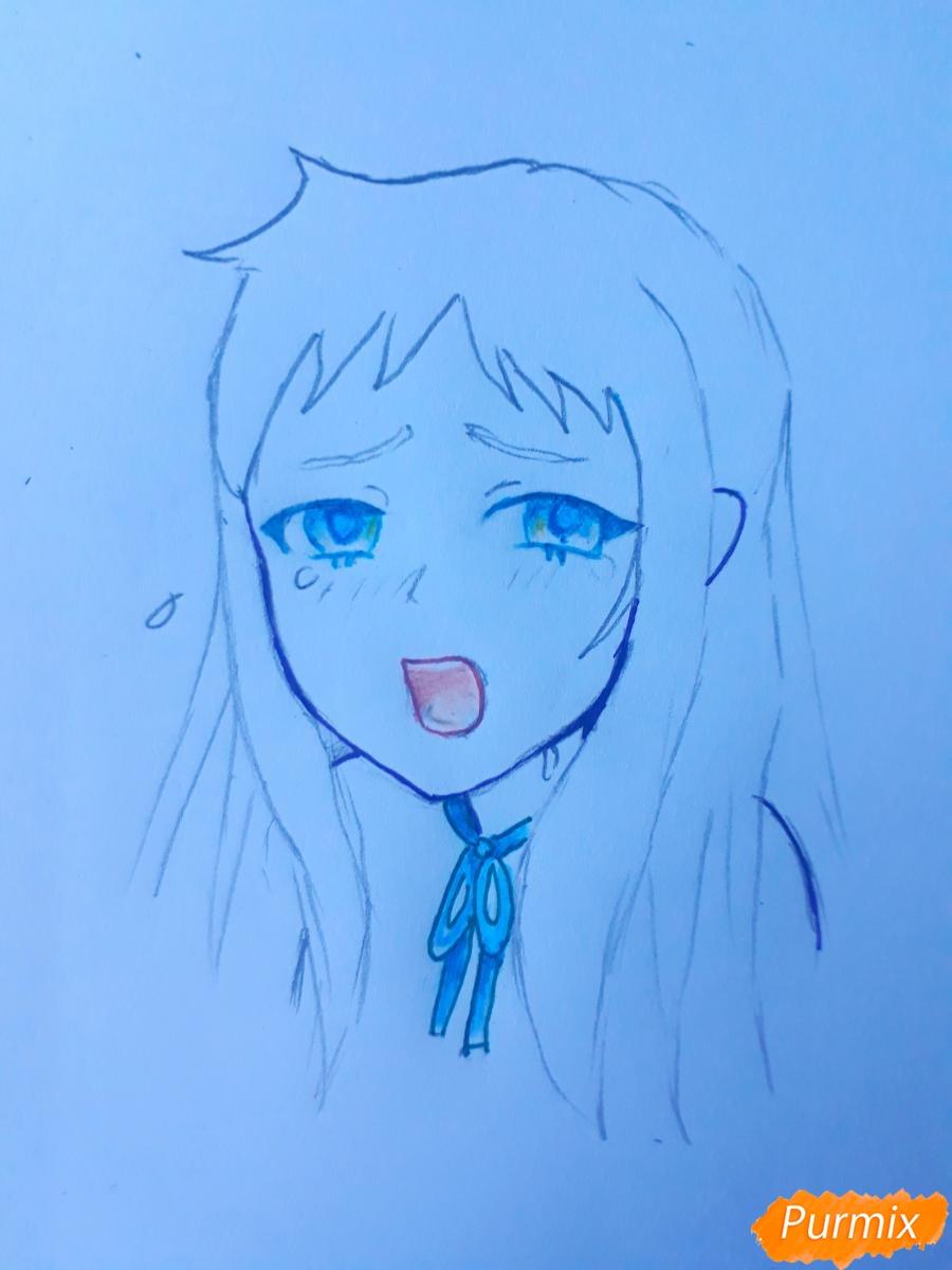Рисуем Ханну со слезами из аниме Невиданный цветок - шаг 6