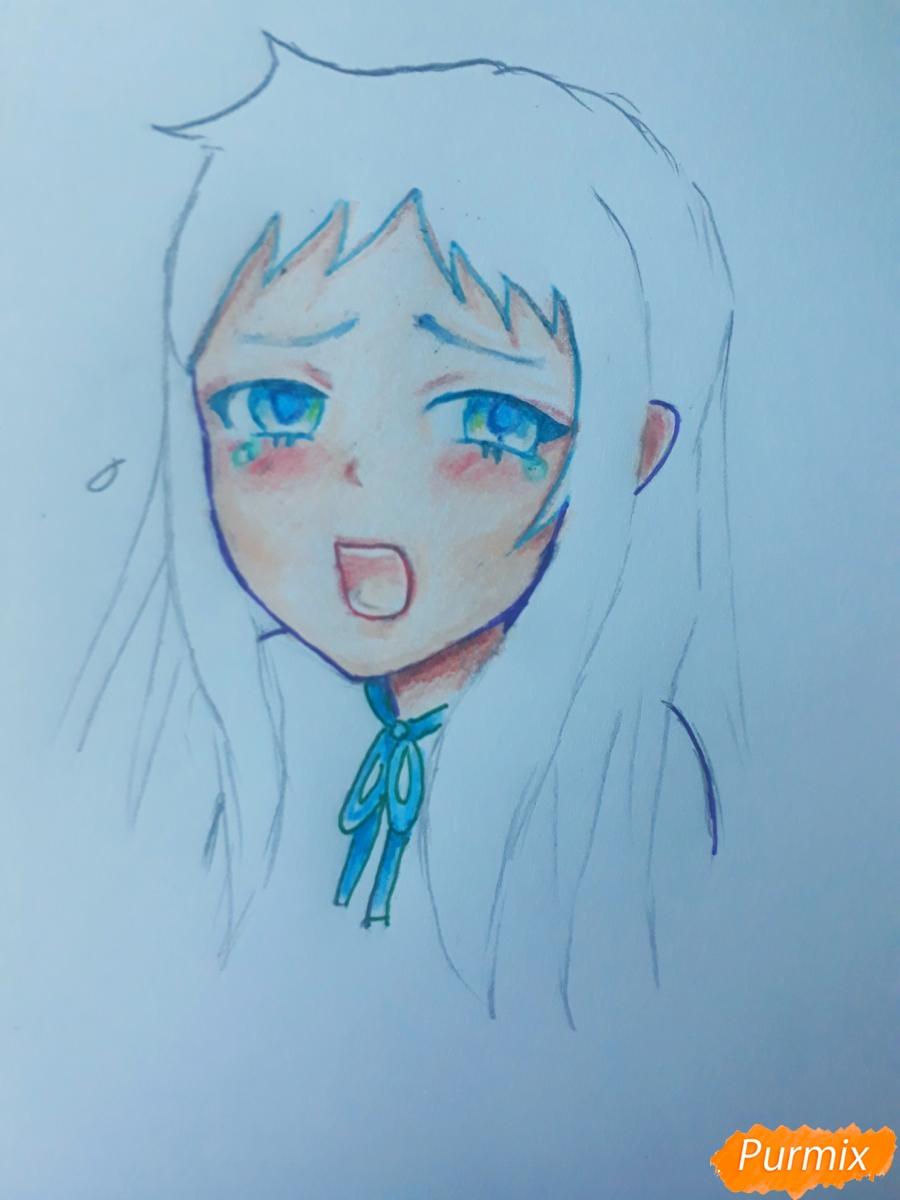 Рисуем Ханну со слезами из аниме Невиданный цветок - шаг 7