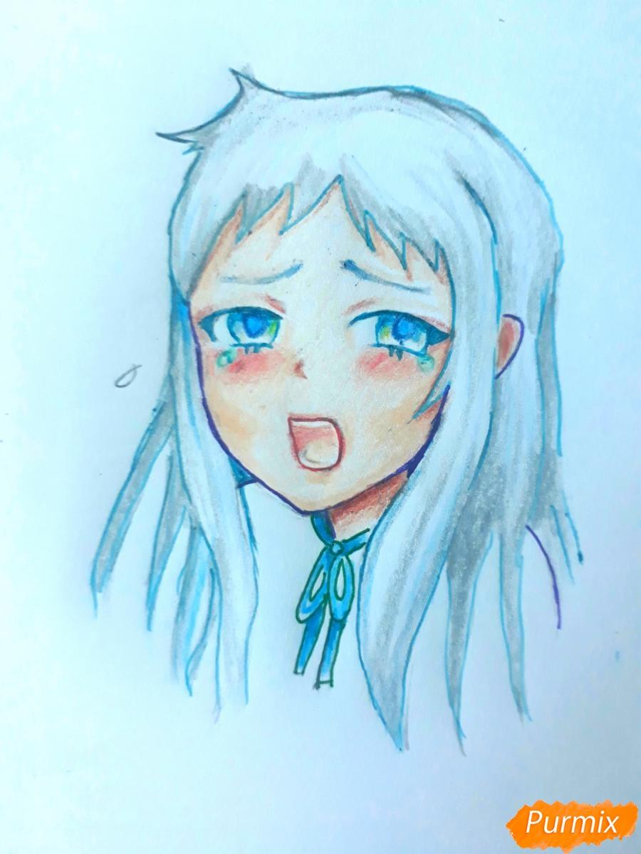 Рисуем Ханну со слезами из аниме Невиданный цветок - шаг 8