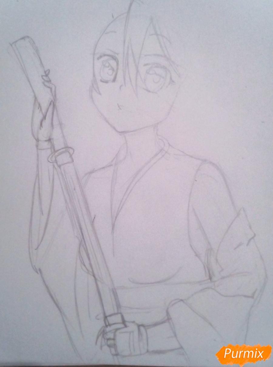 Рисуем Хатсуне Мику в традиционной японской одежде с катаной - шаг 5