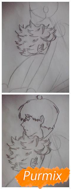 Рисуем Хинату и Кагеяму из аниме Волейбол карандашами - шаг 2