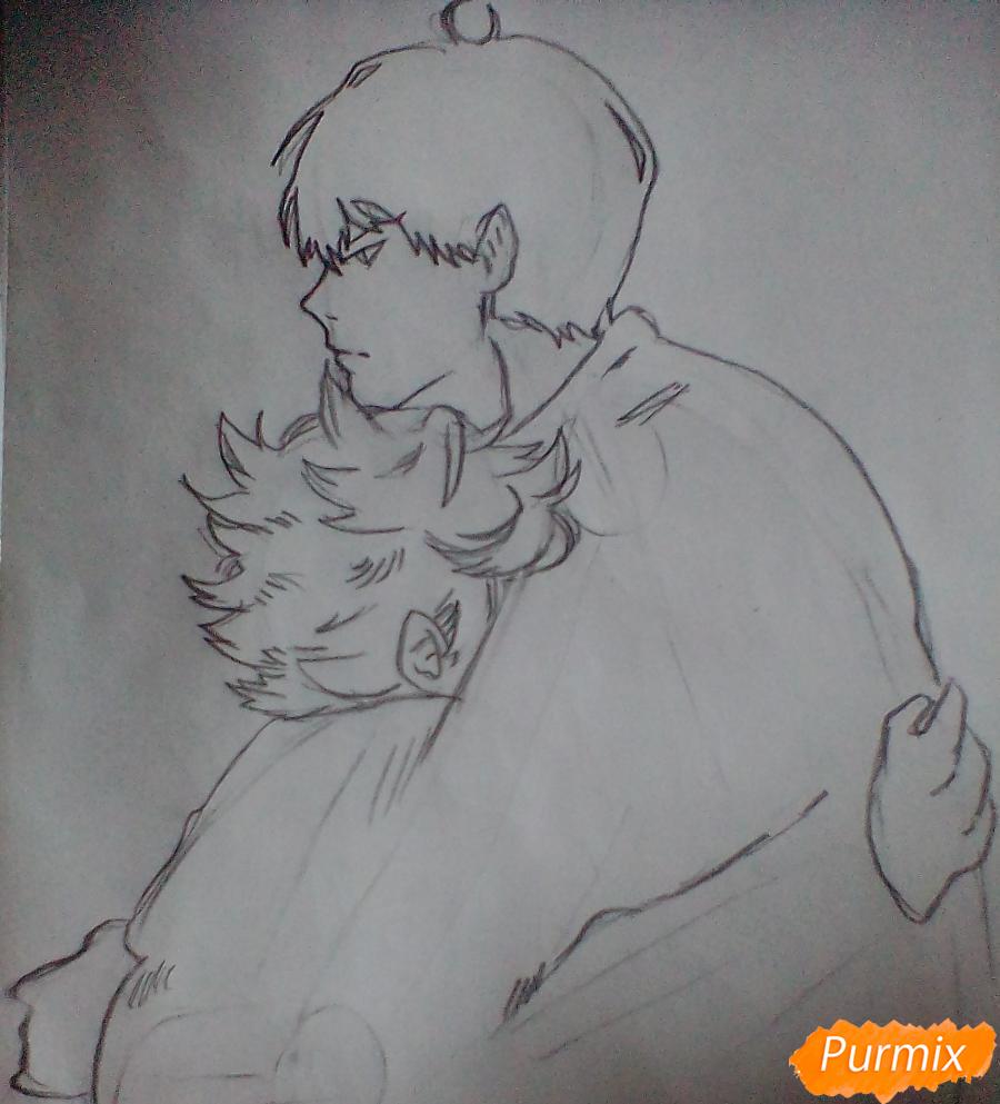 Рисуем Хинату и Кагеяму из аниме Волейбол карандашами - шаг 3