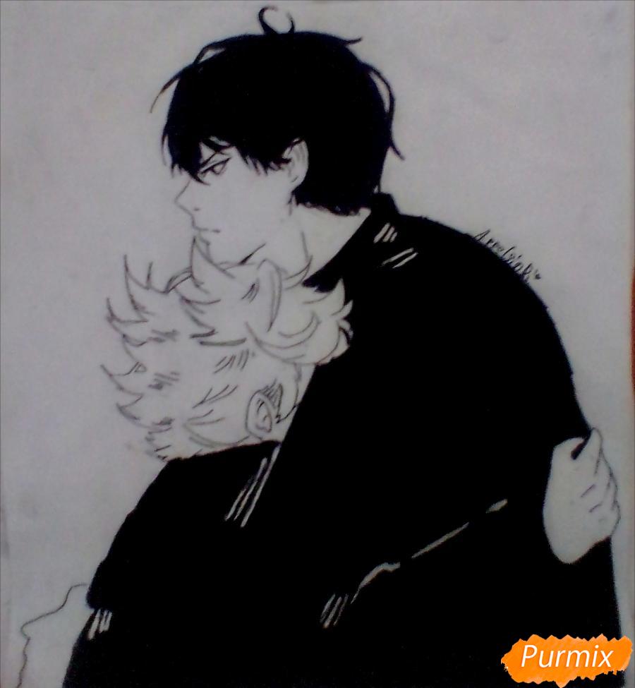 Рисуем Хинату и Кагеяму из аниме Волейбол карандашами - шаг 4