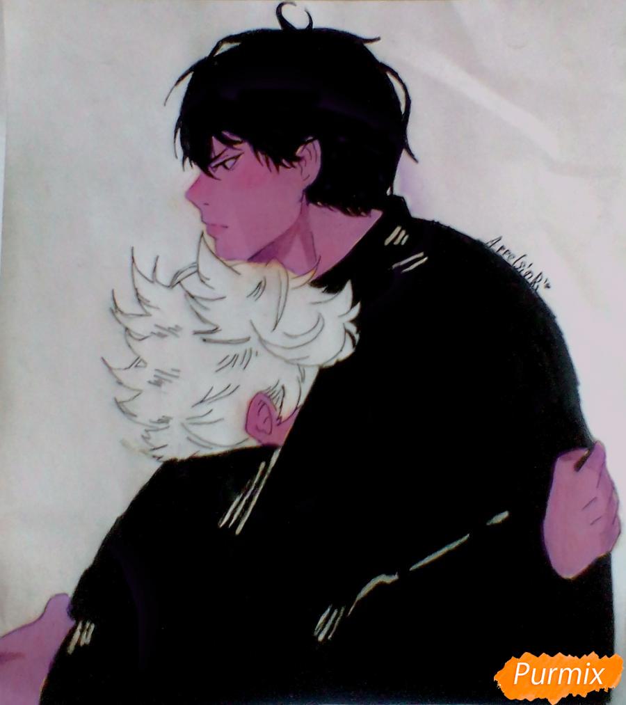 Рисуем Хинату и Кагеяму из аниме Волейбол карандашами - шаг 5