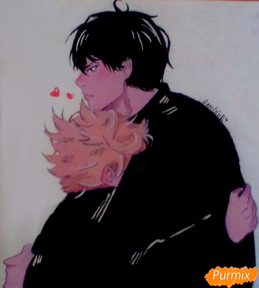 Как нарисовать Хинату и Кагеяму из аниме Волейбол карандашами поэтапно