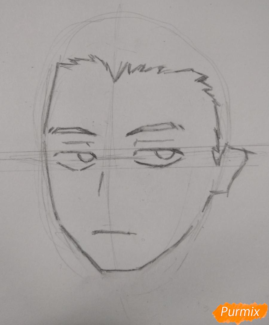 Рисуем Хитоши Шинсо из аниме Моя геройская академия - шаг 2