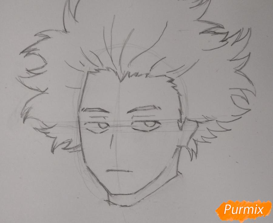 Рисуем Хитоши Шинсо из аниме Моя геройская академия - шаг 3