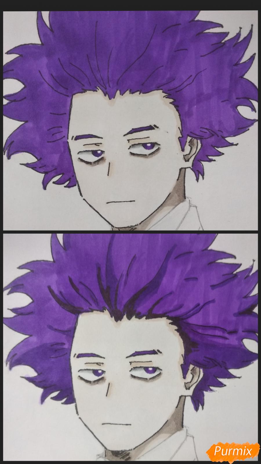 Рисуем Хитоши Шинсо из аниме Моя геройская академия - шаг 8