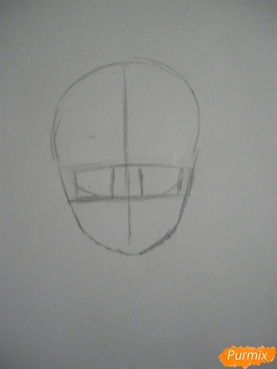 Рисуем хуманизацию арбуза с стиле аниме цветными карандашами - шаг 1