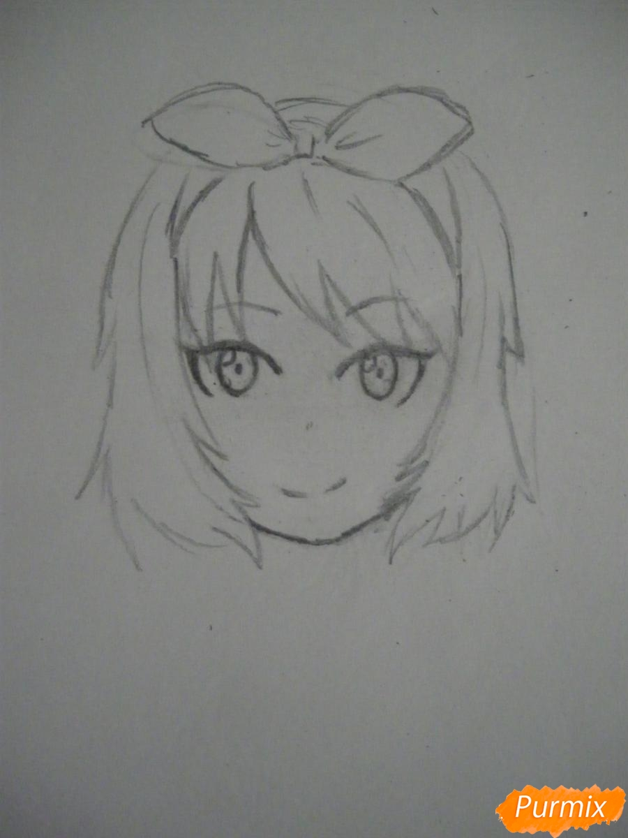 Рисуем хуманизацию арбуза с стиле аниме цветными карандашами - шаг 4