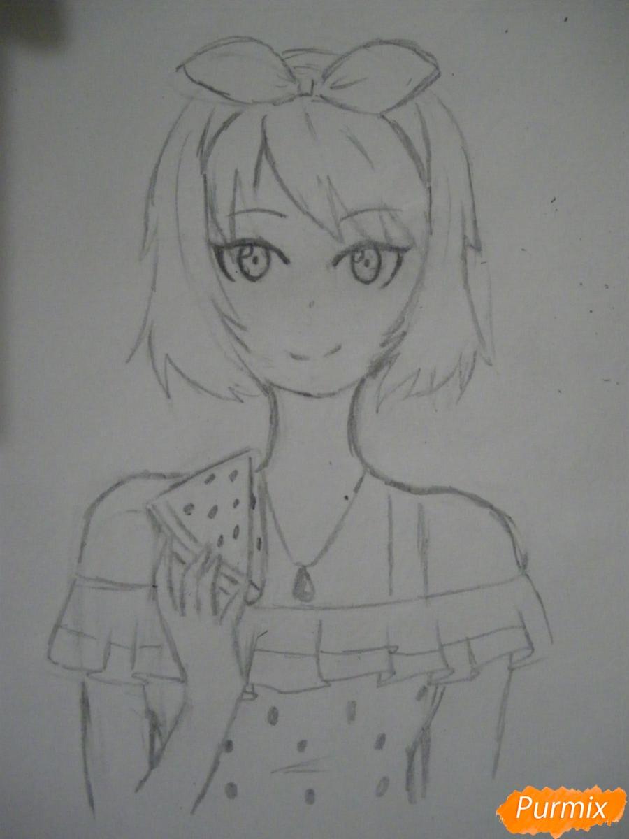 Рисуем хуманизацию арбуза с стиле аниме цветными карандашами - шаг 6