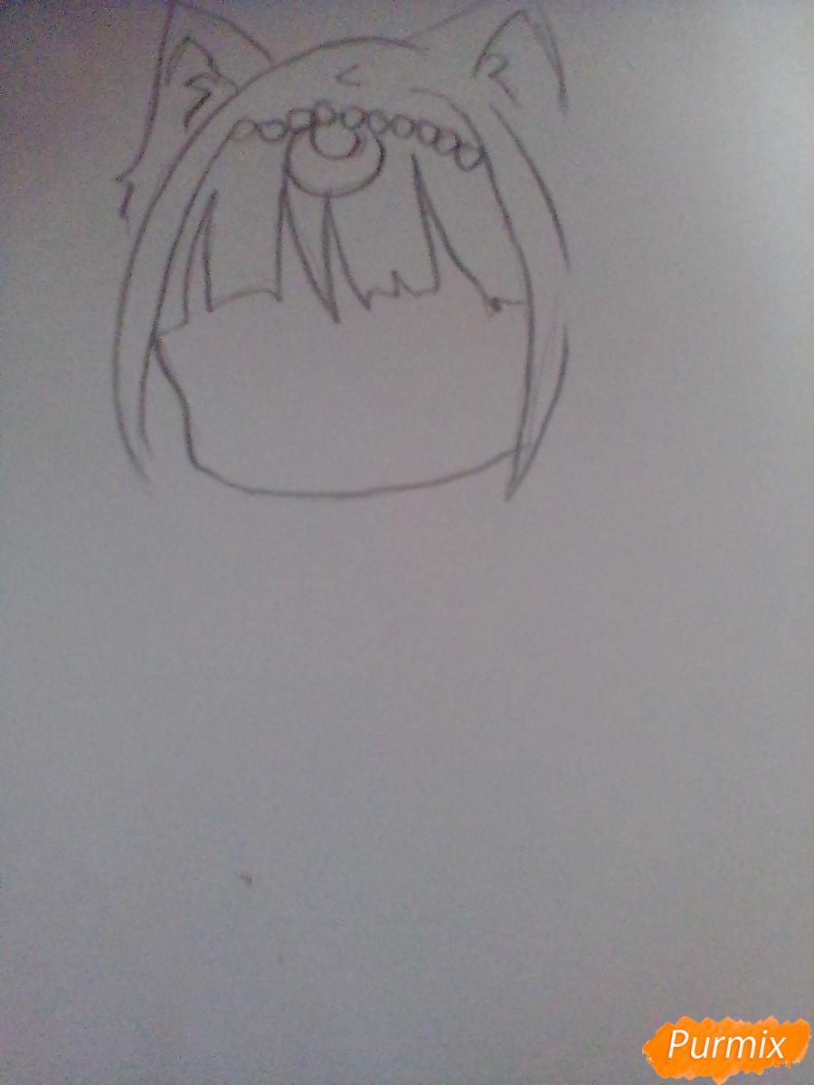 Рисуем хуманизацию Дианы в стиле чиби из аниме Сейлор Мун - шаг 1