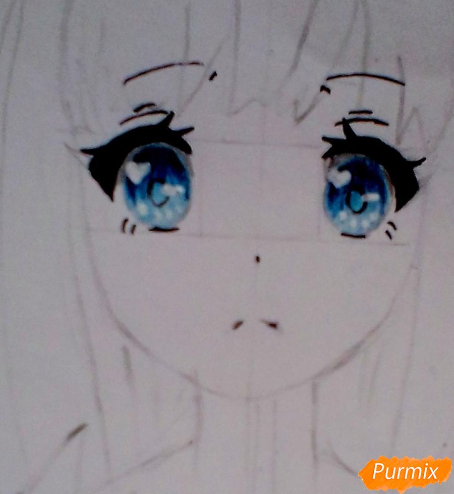 Рисуем и раскрасить аниме ангелочка - шаг 4