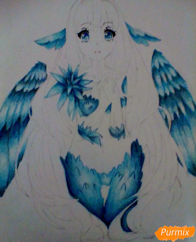 Рисуем и раскрасить аниме ангелочка - шаг 5