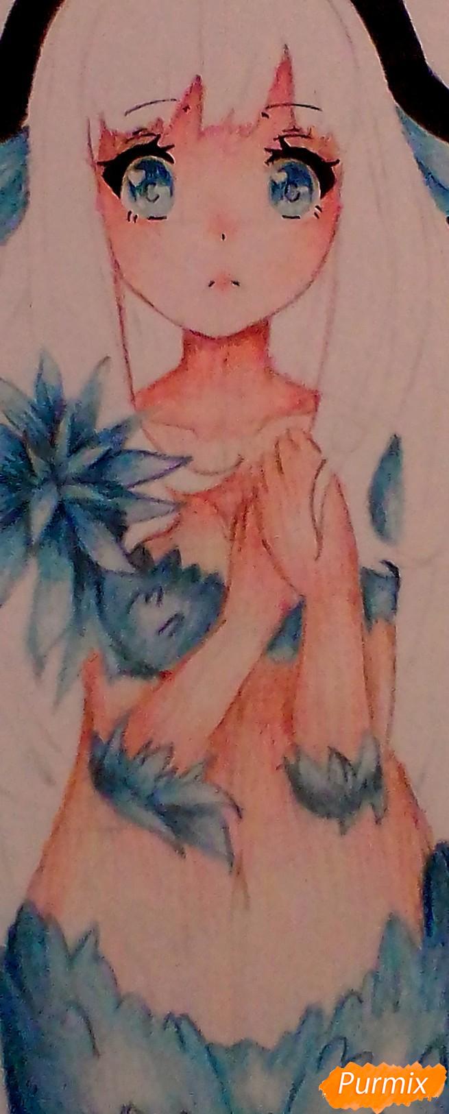 Рисуем и раскрасить аниме ангелочка - шаг 6