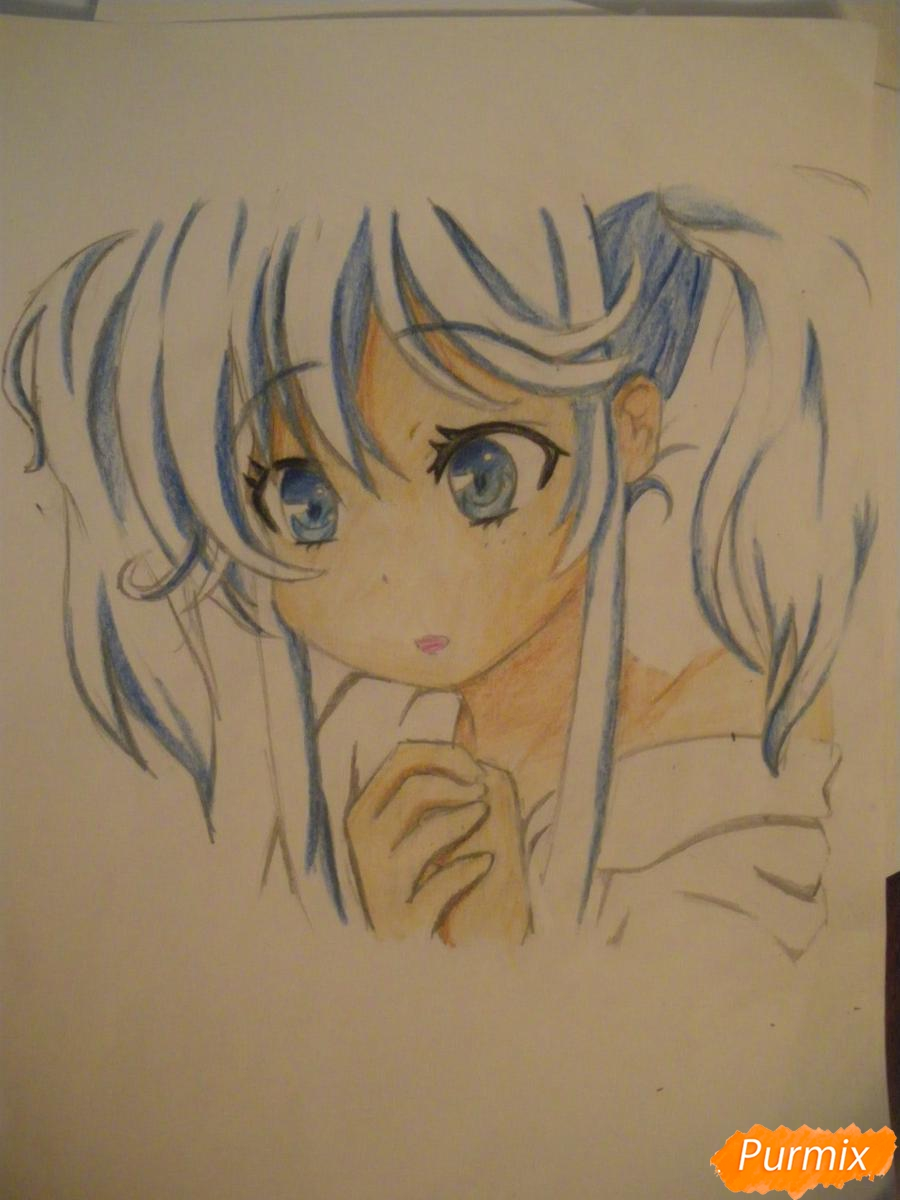 Рисуем и раскрасить аниме девочку с синими волосами - шаг 12