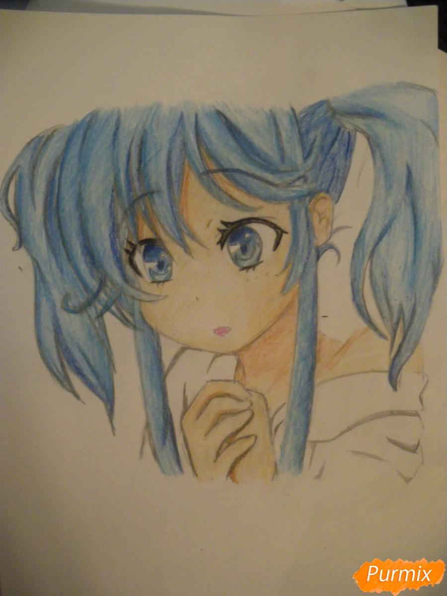 Рисуем и раскрасить аниме девочку с синими волосами - шаг 13