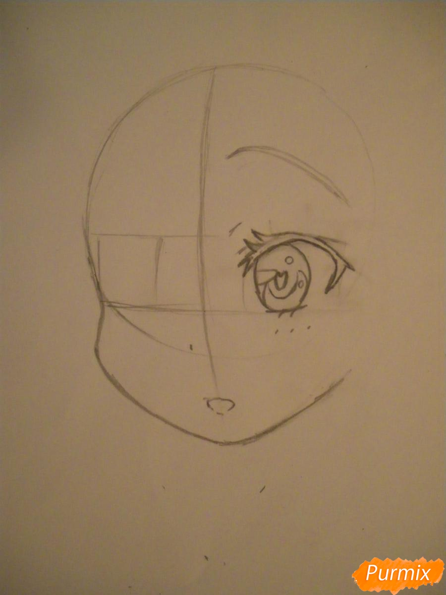 Рисуем и раскрасить аниме девочку с синими волосами - шаг 2