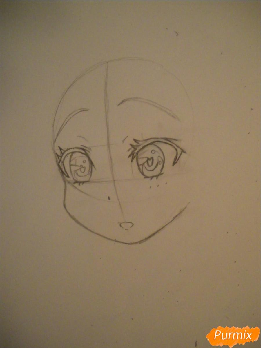 Рисуем и раскрасить аниме девочку с синими волосами - шаг 3
