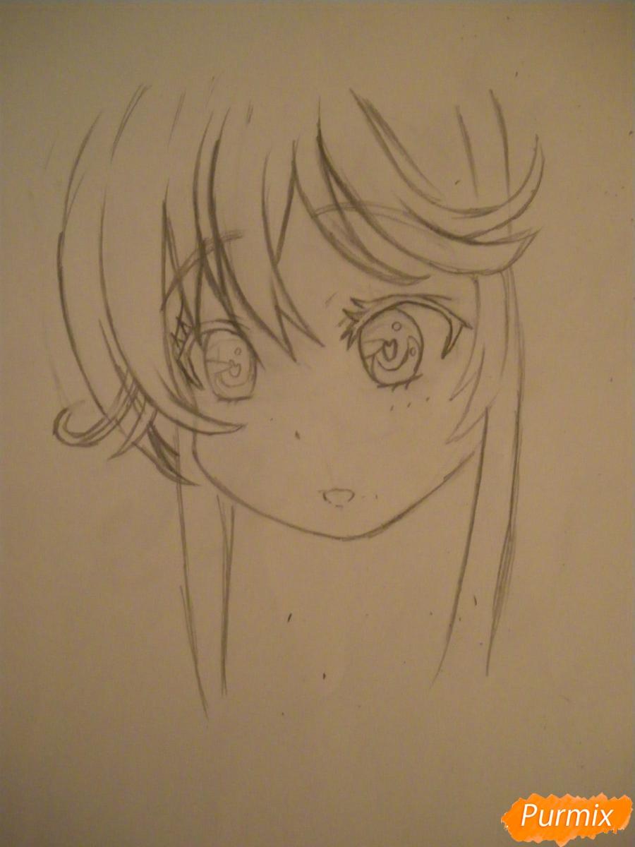 Рисуем и раскрасить аниме девочку с синими волосами - шаг 4