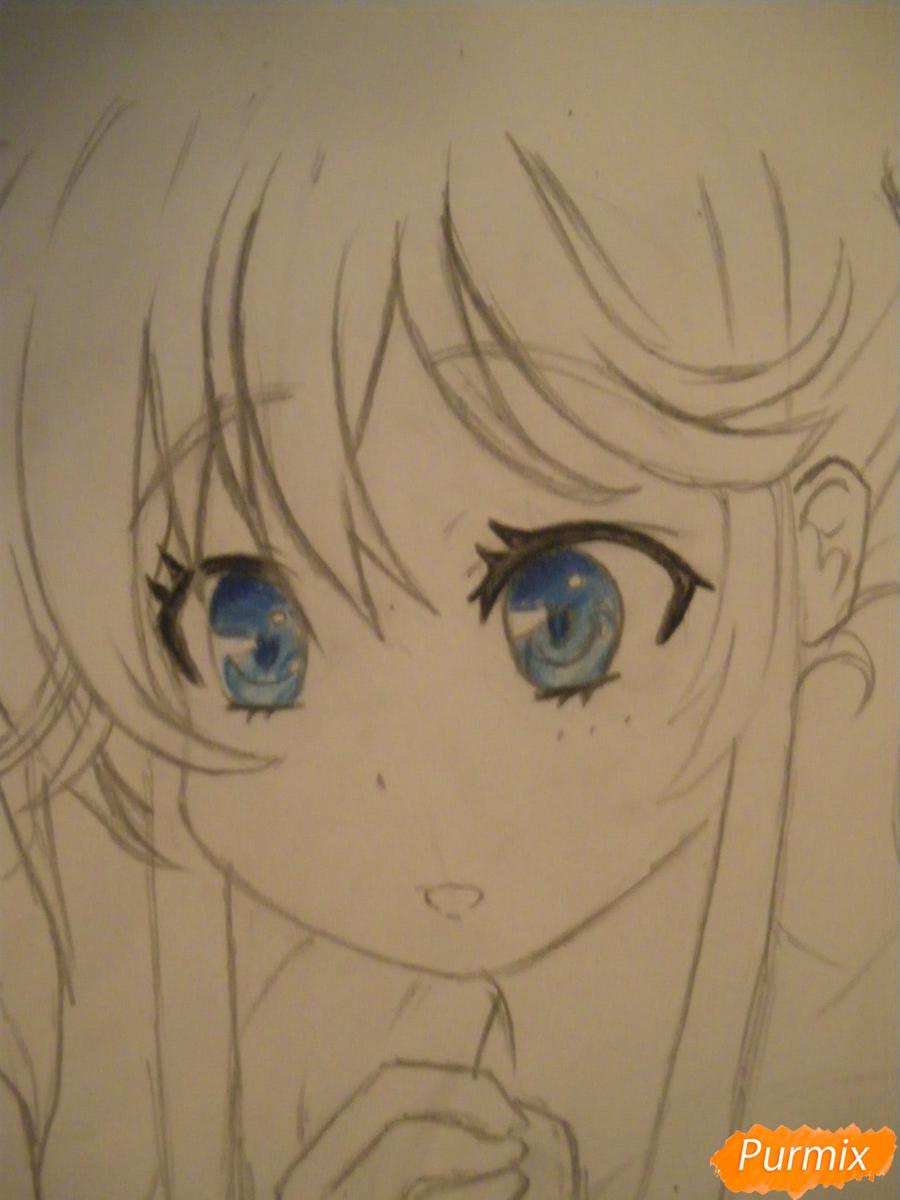Рисуем и раскрасить аниме девочку с синими волосами - шаг 8
