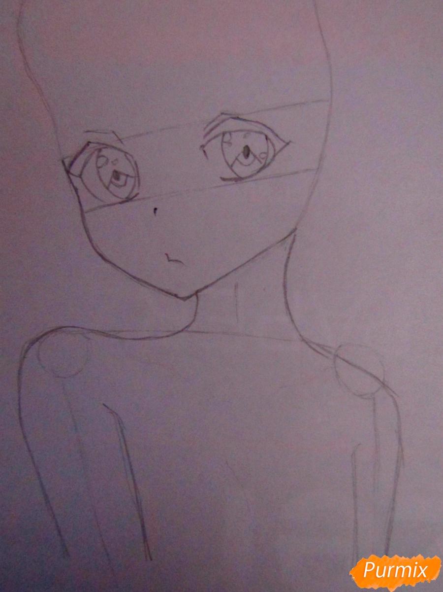 Рисуем и раскрасить аниме девушку-демона - шаг 2